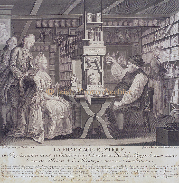 La Pharmacie Rustique', c1775 (The Country Pharmacy).  The composition shows a visit to a country chemist. Illustrated with the interior of Michael Schuppach's pharmacy in Basel, Switzerland,  during a consultation.  Schuppach seems to be examining a sample of urine brought by a fashionably dressed woman.  After a painting of 1774 by G Locher.