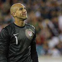 United States goalkeeper Tim Howard (1) during an international friendly soccer match between Scotland and the United States at EverBank Field on Saturday, May 26, 2012 in Jacksonville, Florida.  The United States won the match 5-1 in front of 44,000 fans. (AP Photo/Alex Menendez)