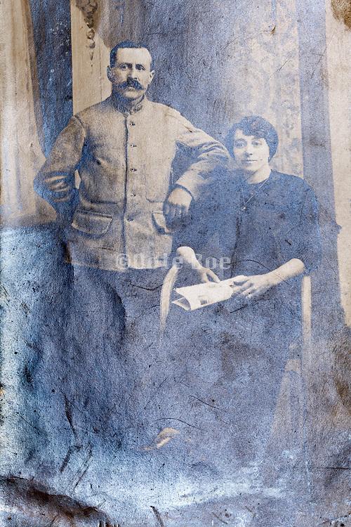 silver oxidizing vintage couple studio portrait