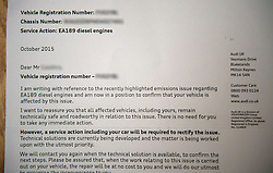 © Licensed to London News Pictures. 14/10/2015. A recall letter sent by Audi to an Audi customer whose car was affected by the recent emissions scandal at Volkswagen Group.  Photo credit: Ben Cawthra/LNP