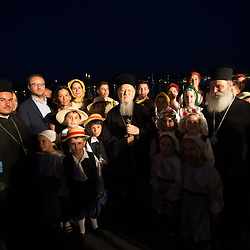 Greek children performed traditional dances for His All Holiness Patriarch Bartholemew and the crowds including participants at the Greener Attica forum.