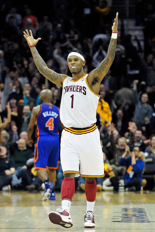 Feb. 25, 2011; Cleveland, OH, USA; Cleveland Cavaliers point guard Daniel Gibson (1) celebrates during the finals minutes of the fourth quarter after hitting a three point shot against the New York Knicks at Quicken Loans Arena. The Cavaliers beat the Knicks 115-109. Mandatory Credit: Jason Miller-US PRESSWIRE
