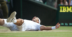 LONDON, ENGLAND - Sunday, July 4th, 2010: Rafael Nadal (ESP) celebrates after winning the Gentlemen's Singles Final match 6-3, 7-5, 6-3 on day thirteen of the Wimbledon Lawn Tennis Championships at the All England Lawn Tennis and Croquet Club. (Pic by David Rawcliffe/Propaganda)