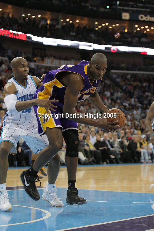 12 November 2008: Los Angeles Lakers center Andrew Bynum (17) tries to gain control of the ball as New Orleans Hornets forward David West (30) defends  during a 93-86 win by the Los Angeles Lakers over the New Orleans Hornets at at the New Orleans Arena in New Orleans, LA..
