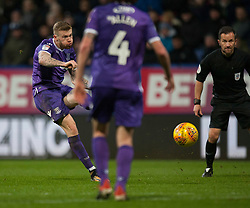 James McClean of Stoke City (L) has a shot at goal - Mandatory by-line: Jack Phillips/JMP - 29/12/2018 - FOOTBALL - University of Bolton Stadium - Bolton, England - Bolton Wanderers v Stoke City - English Football League Championship