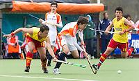 AERDENHOUT - 09-04-2012 - Daniel Aarts, maandag tijdens de finale tussen Nederland Jongens B en Spanje Jongens B  (3-1) , tijdens het Volvo 4-Nations Tournament op de velden van Rood-Wit in Aerdenhout. Jongens U16 wortdt kampioen.FOTO KOEN SUYK