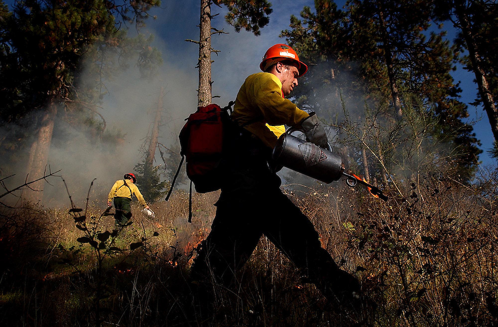 JEROME A. POLLOS/Press..Marte Meredith, from the Idaho Department of Lands, sets a fireline Tuesday on Higgens Point during a prescribed burn. The 4-acre controlled fire was set to prevent wildfires, minimize the noxious weed threat and help restore the area's Ponderosa Pines.