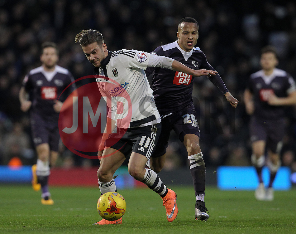 Alex Kacaniklic of Fulham and Marcus Olsson of Derby County challenge for the ball - Mandatory byline: Paul Terry/JMP - 06/02/2016 - FOOTBALL - Craven Cottage - Fulham, England - Fulham v Derby County - Sky Bet Championship