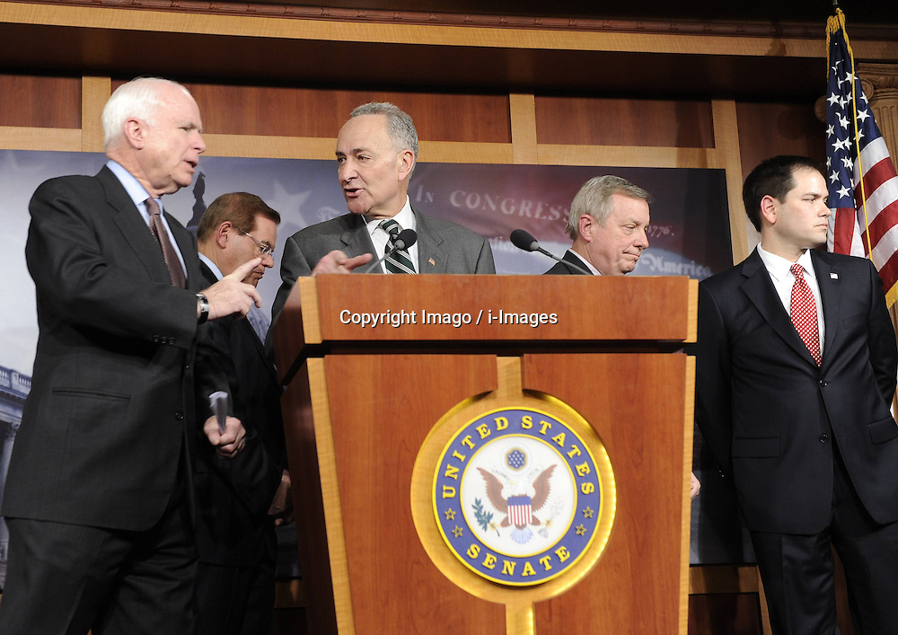 (L to R) U.S. Senators John McCain (R-AZ), Robert Menendez (D-NJ), Charles Schumer (D-NY), Richard Durbin (D-IL) and Marco Rubio (R-FL) attend a press conference on bipartisan framework for comprehensive immigration reform on Capitol Hill, in Washington D.C., capital of the United States, January 28, 2013. Photo by Imago / i-Images...UK ONLY