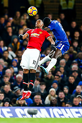 Anthony Martial of Manchester United and Antonio Rudiger of Chelsea compete in the air - Rogan/JMP - 05/11/2017 - FOOTBALL - Stamford Bridge - London, England - Chelsea v Manchester United - Premier League.