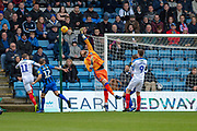 Gillingham FC goalkeeper Tomas Holy (1) tips over a shot during the EFL Sky Bet League 1 match between Gillingham and Portsmouth at the MEMS Priestfield Stadium, Gillingham, England on 26 December 2018.