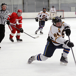 TOM KELLY IV - DAILY TIMES<br /> Springfield's Rich Brown (84) takes a shot on goal during the Penncrest takes on Springfield at Ice Works in Aston, Friday night December 2, 2014.