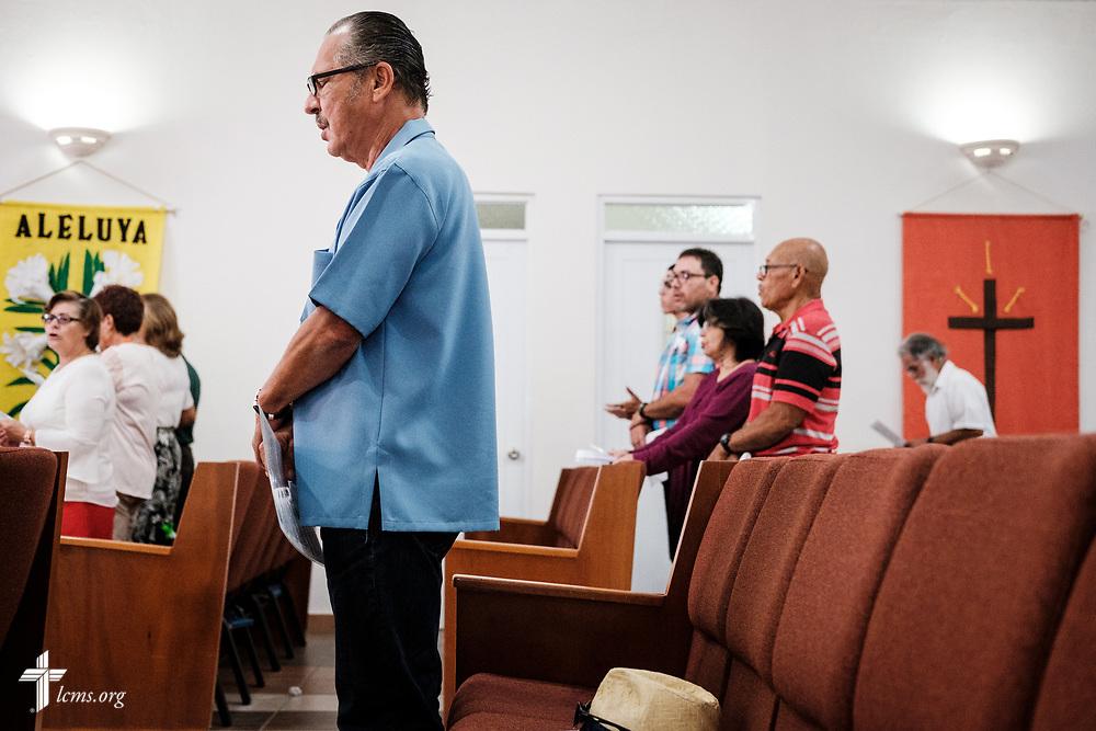 Congregation members and visitors worship at Iglesia Luterana Principe de Paz (Prince of Peace Lutheran Church), Mayagüez, Puerto Rico, on Sunday, April 15, 2018. LCMS Communications/Erik M. Lunsford