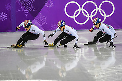 February 17, 2018 - Pyeongchang, Gangwon, South Korea - Lim Hyojun of  South Korea, Hwang Daeheon of  South Korea..and Seo Yira of  South Korea competing in 1000 meter speed skating for men at Gangneung Ice Arena, Gangneung, South Korea on 17 February 2018. (Credit Image: © Ulrik Pedersen/NurPhoto via ZUMA Press)