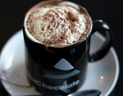 Detail of hot chocolate drink at cafe in Durness North Coast 500 tourist motoring route in northern Scotland, UK