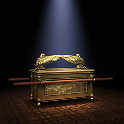 Ark of the Covenant inside the Holy of Holies illuminated with a shaft of light from above