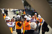 Sen. Barbara Boxer (D-CA) addresses the media before receiving a progress and funding update at the construction site of the BART Berryessa station in San Jose, Calif., on Aug. 21, 2012.  Photo by Stan Olszewski/SOSKIphoto.