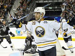 08.10.2011, O2 World, Berlin, Linz, GER, NHL, Buffalo Sabres vs LA Kings, im Bild Paul Gausted (Buffalo Sabres,#28) celebrates his goal, during the Compuware NHL Premiere, O2 World Berlin, Berlin, Germany, 2011-10-08, EXPA Pictures © 2011, PhotoCredit: EXPA/ Reinhard Eisenbauer