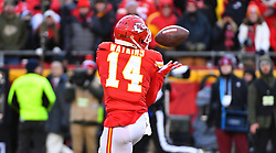 Jan 19, 2020; Kansas City, Missouri, USA; Kansas City Chiefs wide receiver Sammy Watkins (14) catches a long pass during the AFC Championship Game against the Tennessee Titans at Arrowhead Stadium. Mandatory Credit: Denny Medley-USA TODAY Sports