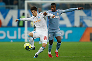 Olympique de Marseille's Japanese defender Hiroki Sakai vies for the ball with AS Monaco's Cameroonese forward Keita Balde during the French Championship Ligue 1 football match between Olympique de Marseille and AS Monaco on January 28, 2018 at the Orange Velodrome stadium in Marseille, France - Photo Benjamin Cremel / ProSportsImages / DPPI