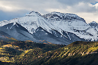 First snow of the autumn season on the Sneffels Range, Colorado.