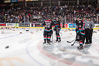 KELOWNA, CANADA - DECEMBER 1: Conner Bruggen-Cate #20 and Mark Liwiski #9 of the Kelowna Rockets celebrate the annual teddy bear toss goal against the Saskatoon Blades on December 1, 2018 at Prospera Place in Kelowna, British Columbia, Canada.  (Photo by Marissa Baecker/Shoot the Breeze)