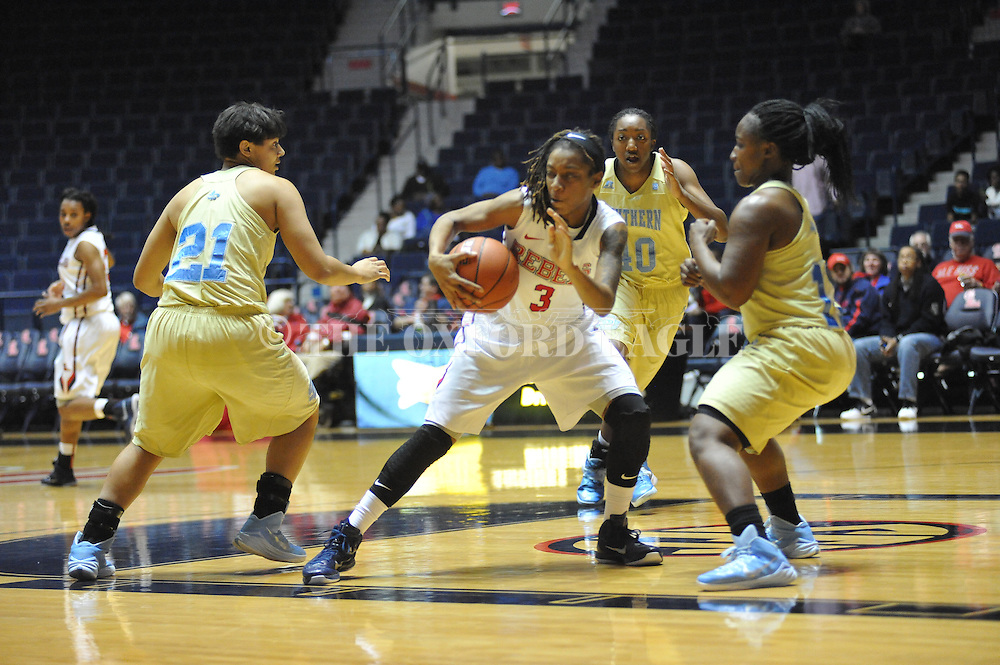 "Ole Miss guard A'Queen Hayes (3) vs. Southern at the C.M. ""Tad"" Smith Coliseum in Oxford, Miss. on Thursday, November 20, 2014. (AP Photo/Oxford Eagle, Bruce Newman)"