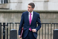 © Licensed to London News Pictures. 09/01/2018. London, UK. Defence Secretary Gavin Williamson walking through Whitehall to attend a Cabinet meeting in Downing Street this morning. Yesterday British Prime Minister Theresa May reshuffled her cabinet, appointing some new ministers. Photo credit : Tom Nicholson/LNP