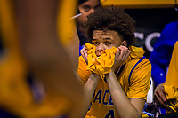 Grant Pacer's Corey Yerger (4), sits on the bench after their  66-65 loss to the St. Mary's Ram in the CIF Division II Boys Championship basketball game in the Spanos Center at the University of the Pacific, Friday Mar 2, 2018. <br /> photo by Brian Baer