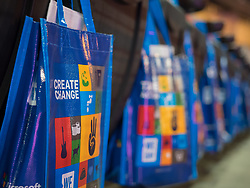 Bags for attendees of We Day 2015, Seattle, Washington. Free the Chldren event which inspires youth activism and volunteering.