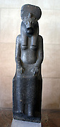 Statue of the Goddess Sekhmet, New Kingdom, Dynasty 18, reign of Amenhotep 111. (ca. 1390-1152 B.C.)  Granodiorite.  From Thebes, probably found at the temple of Mut in Karnak.