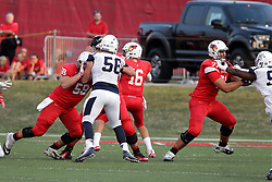 02 September 2017:   Dean Helt blocks Nick Mahalak while Drew Himmelman blocks another defender to give Jake Kolbe time to make a pass during the Butler Bulldogs at  Illinois State Redbirds Football game at Hancock Stadium in Normal IL (Photo by Alan Look)