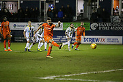 Goal!…Luton Town forward James Collins (19) scores from the penalty spot during the EFL Sky Bet League 1 match between Luton Town and Burton Albion at Kenilworth Road, Luton, England on 22 December 2018.
