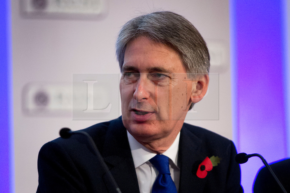 © Licensed to London News Pictures. 01/11/2012. London, UK. Philip Hammond, Secretary of State for Defence is seen during a question and answers session at the Chief of the Air Staff's Air Power Conference 2012 held by the Royal United Services Institute (RUSI) in Westminster, London, today (01/11/12). Photo credit: Matt Cetti-Roberts/LNP