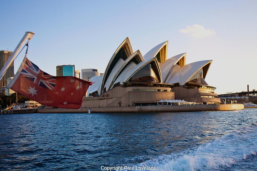 On a ferry going passed the Sydney Opera House, Sydney, Australia.