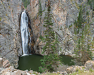 Porcupine Falls is a scenic 100+ feet high waterfall in the Bighorn Mountains.