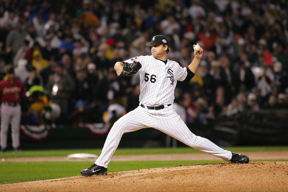 CHICAGO - OCTOBER 23:  Mark Buehrle of the Chicago White Sox pitches during Game 2 of the 2005 World Series against the Houston Astros at US Cellular Field on October 23, 2005 in Chicago, Illinois.  The White Sox defeated the Astros 7-6.