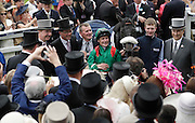 04.06.2016. Epsom Downs, Surrey England.  Pat Smullen celebrates after riding Harzand to victory in the  Investec Derby