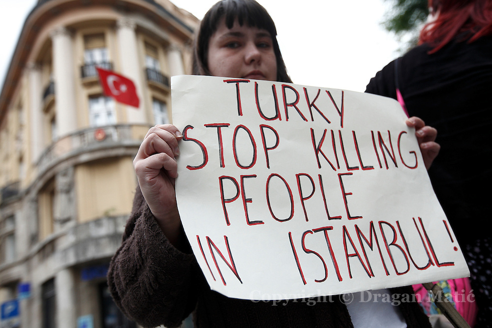 Members of Occupy Croatia in front of Turkish embassy expressed support for the protesters in Turkey.