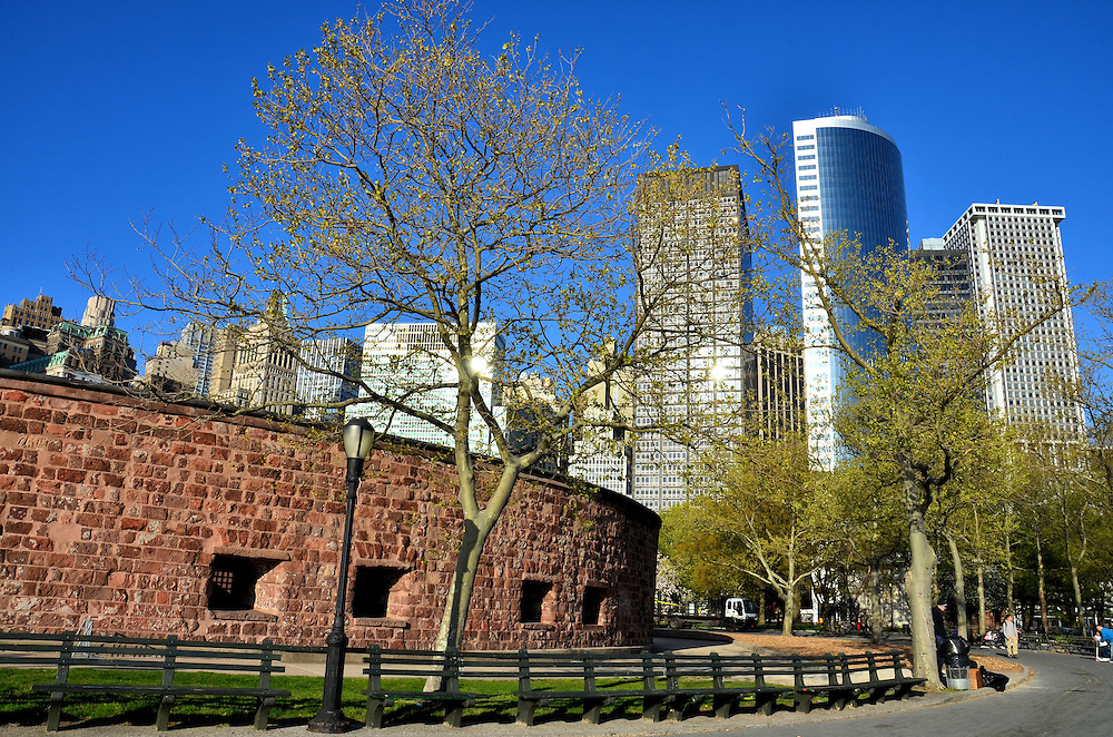 Castle Clinton in Battery Park and Skyline in New York City, New York<br />