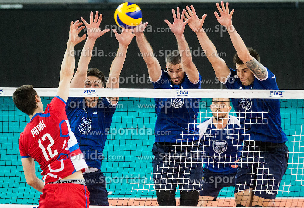 Matej Patak of Slovakia vs Dejan Vincic #9 of Slovenia, Alen Pajenk #2 of Slovenia and Klemen Cebulj #18 of Slovenia during friendly volleyball match, closed for public, between Men National teams of Slovenia and Slovakia, on June 10, 2016 in Arena Stozice, Ljubljana, Slovenia. Photo by Vid Ponikvar / Sportida