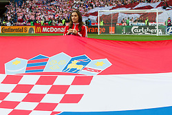 Flag of Croatia during the UEFA EURO 2012 group C match between Italy and Croatia at Poznan City Stadium on June 14, 2012 in Poznan, Poland.  (Photo by Vid Ponikvar / Sportida.com)