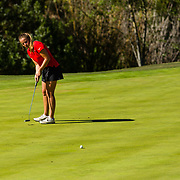 28 March 2018: Sara Kjellker attempts a birdie putt on the fourteenth hole during the final round of match play against UCLA at it's annual March Mayhem Tournament at the Farms Golf Club in Rancho Santa Fe, California.<br /> More game action at sdsuaztecphotos.com