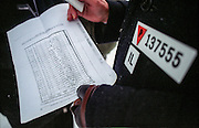 Dionizy Lechowicza, a Polish survivor of the Auschwitz Nazi concentration camp, attending the ceremony to mark the 60th anniversary of its liberation on the 27th of January 2005. Lechowicz was born on 02.01.1917 and prisoned in Auschwitz Birkenau. He is holding a prisoners list with his name on it dated with the 5th of Ocober 1943. It is estimated that between 1.1 and 1.5 million Jews, Poles, Roma and others were killed here in the Holocaust between 1940-1945.