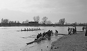 London, GREAT BRITAIN, right, Oxford UBC, Blue Boat, moves in to disembark at Quintin Boat Club, Chiswick,  after winning the 1983 Boat Race, centre, Cambridge waiting to come in. [Mandatory Credit Peter Spurrier/Intersport Images]..... Varsity Boat Race 1983 University Boat Race,