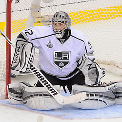 June 9, 2012: Los Angeles Kings goalie Jonathan Quick (32) makes a blocker save during third period action in game 5 of the NHL Stanley Cup Final between the New Jersey Devils and the Los Angeles Kings at the Prudential Center in Newark, N.J. The Devils defeated the Kings 2-1.