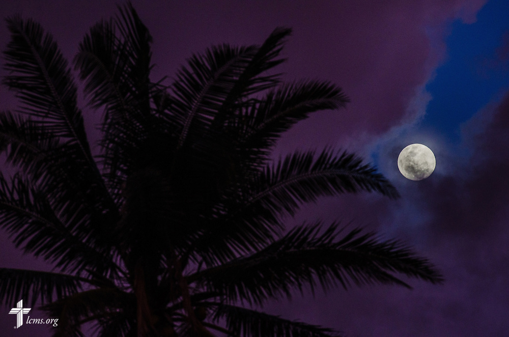 The moon rises in Mahayag, Leyte Province, Philippines, on Saturday, March 15, 2014. LCMS Communications/Erik M. Lunsford