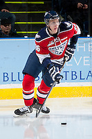 KELOWNA, CANADA -FEBRUARY 19: Brandon Carlo #36 of the Tri City Americans skates with the puck against the Kelowna Rockets on February 19, 2014 at Prospera Place in Kelowna, British Columbia, Canada.   (Photo by Marissa Baecker/Getty Images)  *** Local Caption *** Brandon Carlo;