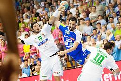 David Spiler #13 of Slovenia during handball match between National teams of Slovenia and Hungary in play off of 2015 Men's World Championship Qualifications on June 15, 2014 in Rdeca dvorana, Velenje, Slovenia. Photo by Urban Urbanc / Sportida