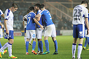 Peterborough United midfielder Michael Bostwick (4) celebrates with team mates after scoring the fifth Peterborough goal during the EFL Sky Bet League 1 match between Peterborough United and Chesterfield at London Road, Peterborough, England on 10 December 2016. Photo by Nigel Cole.